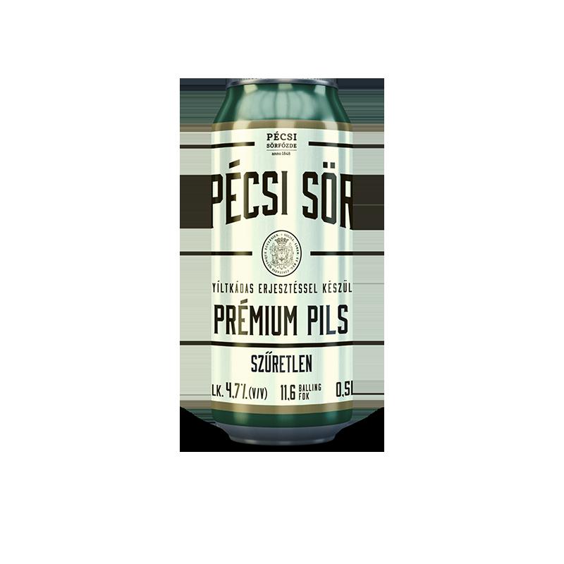 Pécsi Prémium Szűretlen Pils sör dobozos
