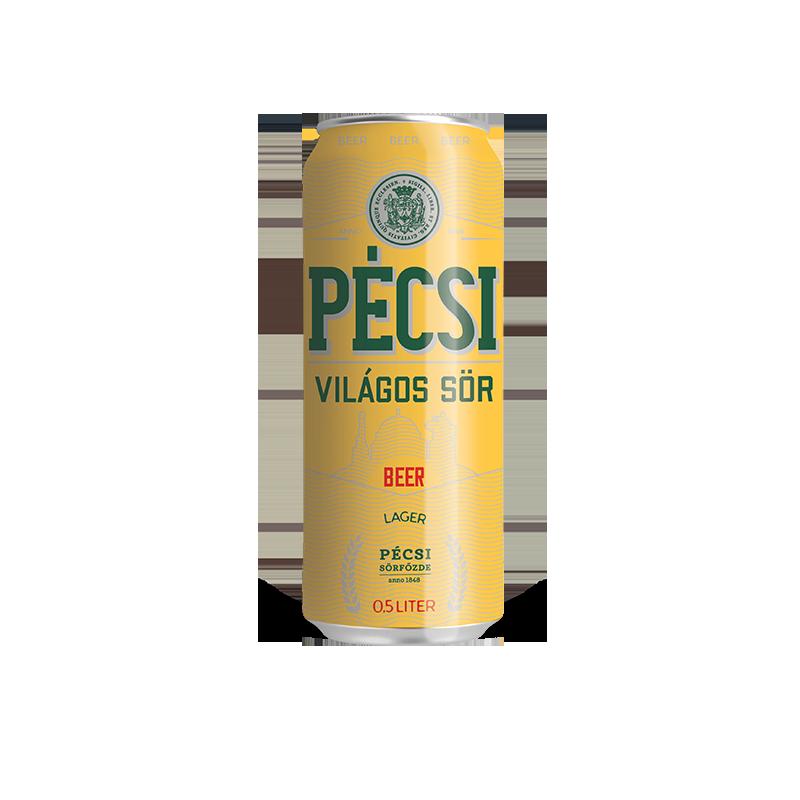 Pécsi Világos sör dobozos